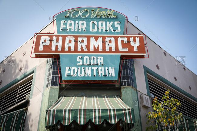 Arcadia, California, USA - October 19, 2017: Vintage sign at entrance to pharmacy and soda fountain
