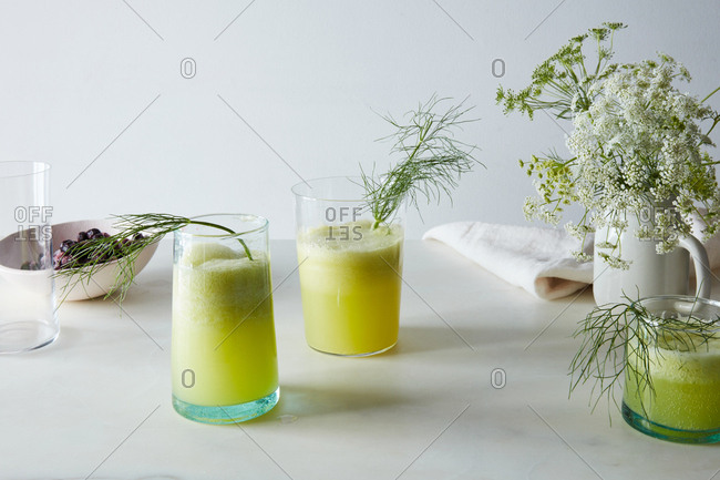 Cucumber fennel fizz drink