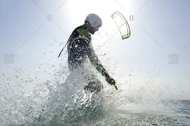 Kitesurfer in the sea