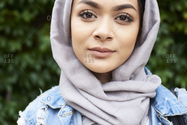 Close-up portrait of young woman wearing hijab