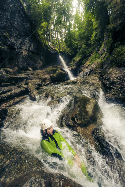 Germany- Bavaria- Allgaeu- man canyoning in Ostertal