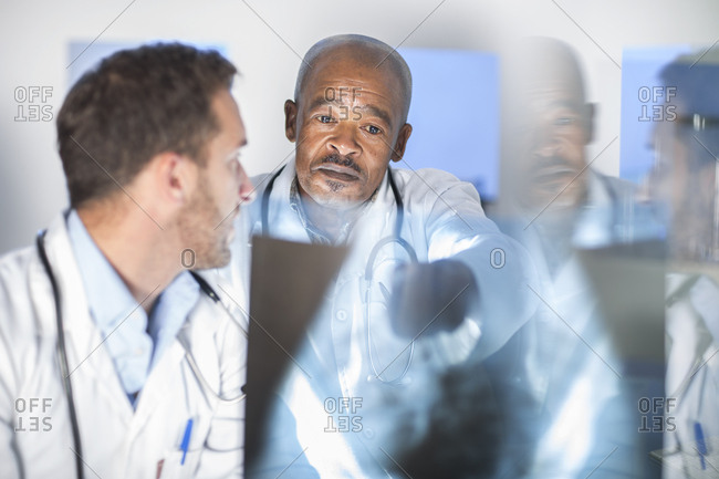 Two doctors analyzing x-ray image