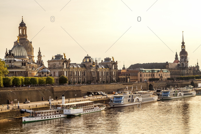 Germany- Dresden- Bruehl's Terrace with Academy of Fine Arts and Church of Our Lady at River Elbe