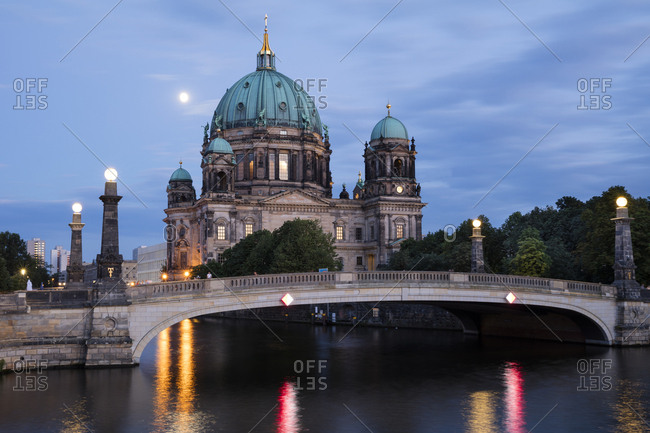 Berlin, Germany - August 4, 2017: View to Berliner Dom at blue hour
