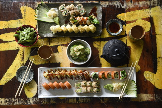 Overhead view of a variety of sushi