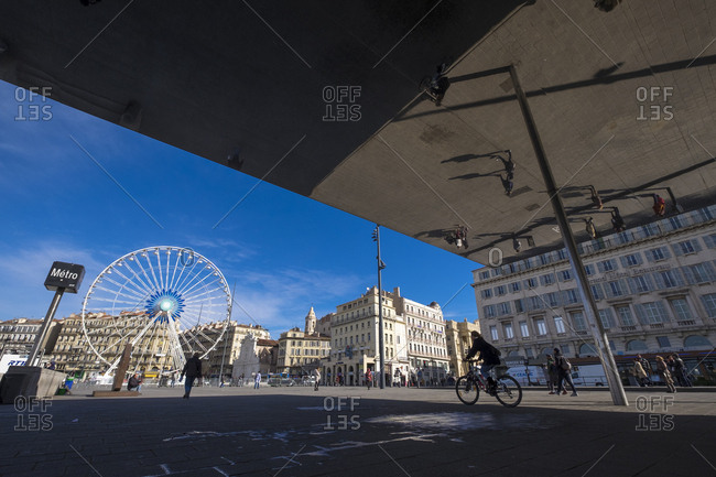 Marseille, France - March 6, 2017: Shade of 1000 square metres of polished stainless steel, architect Norman Foster, built in 2013 at the old harbour, Marseille, France