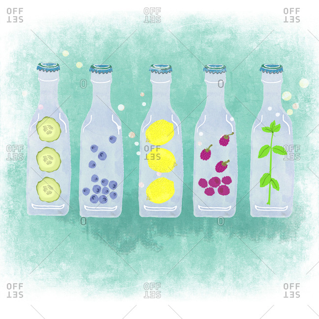 Five bottles with herbal fruit drinks