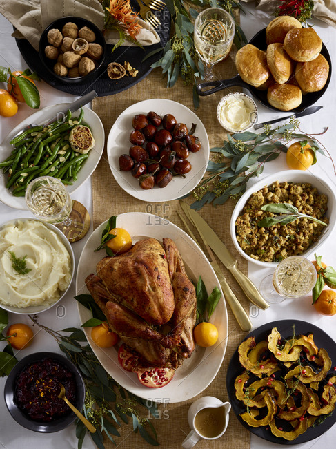 Top view of festive holiday dinner spread
