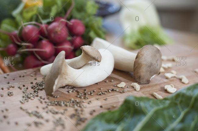 Mushrooms with radish and mangold