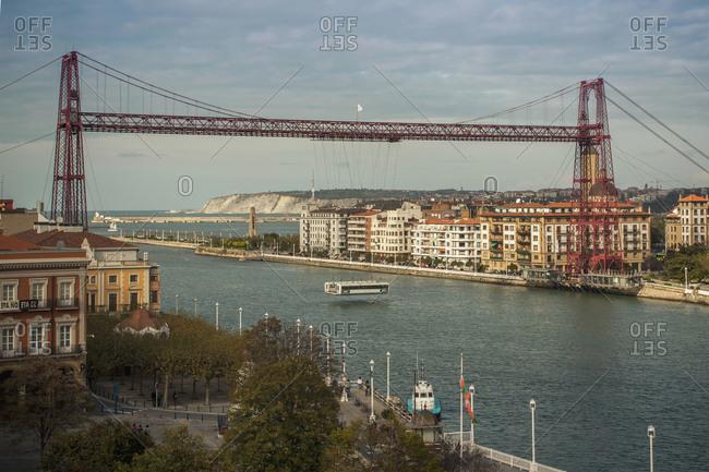 Getxo, Basque Country, Spain, Europe - November 3, 2013: The Vizcaya Bridge over river in city