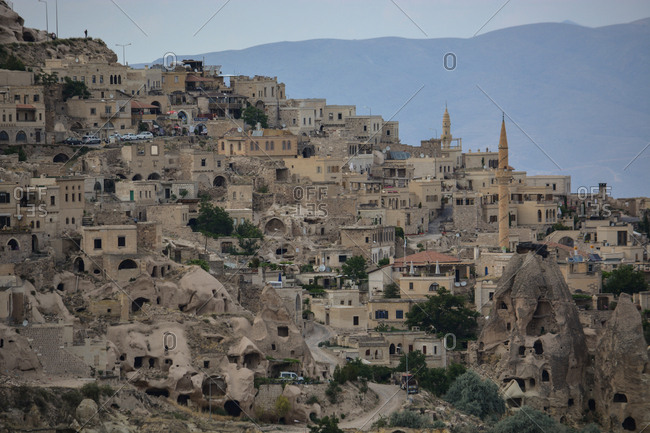 Cappadocia, Turkey. - July 6, 2014: Cave underlings, used by early Christians and the Ottamans, mix alongside inhabited residences