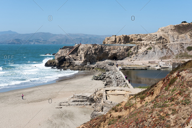 San Francisco, California, United States of America - July 18, 2017: A view of the Sutra Baths at Point Lobos near Lands End