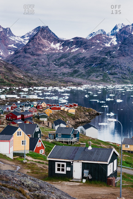 Taasilaq, Eastern Greenland, Sermersooq, Greenland - July 18, 2017: A village in one of the most remote areas on Earth