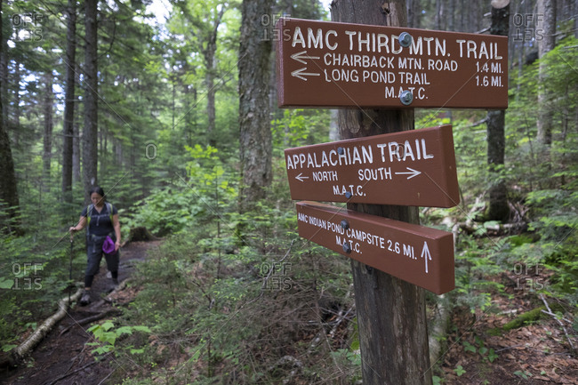 Greenville, 100-Mile Wilderness Area, Maine, USA - July 2, 2017: A woman hikes the Third Mountain trail 100-Mile Wilderness Area