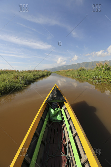 Traditional wooden boat on Lake Inle