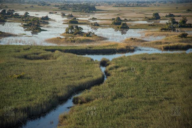 Aerial of the floodplains in the Okavango