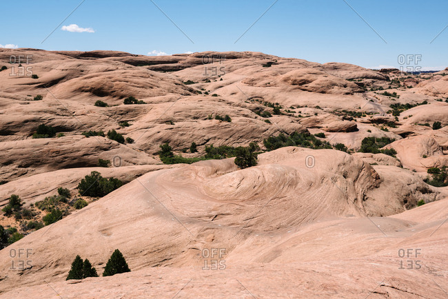Sandstone formations known as Slickrock Bike Trail where people ride mountain bikes, all terrain vehicles, and motorcycles