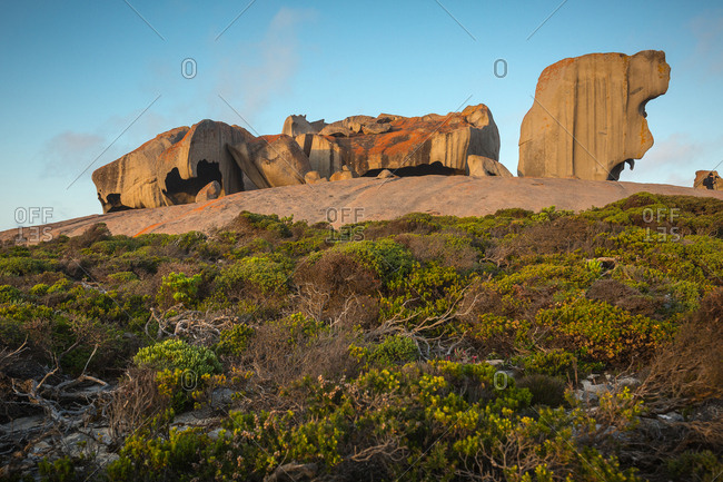 Remarkable Rocks, naturally formed granite boulders on the coast, with vegetation in foreground