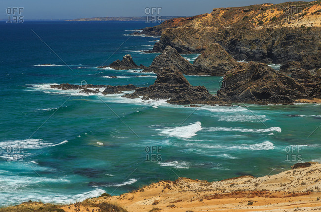 Beaches and rock cliffs on the coast of Portugal