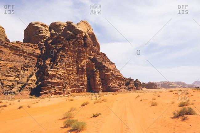 Rock formation in the Wadi Rum desert, Jordan