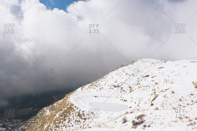 Snow covering Mount Lebanon under cloudy skies, Lebanon