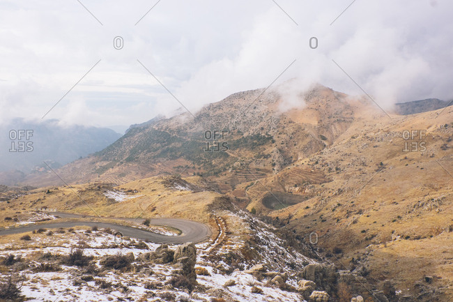 Mountains in Tannourine, Lebanon with winding roads