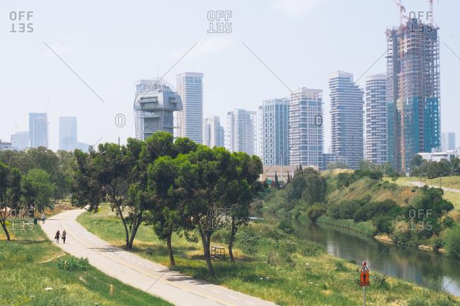Tel Aviv, Israel - April 16, 2017: River and park in downtown Tel Aviv, Israel