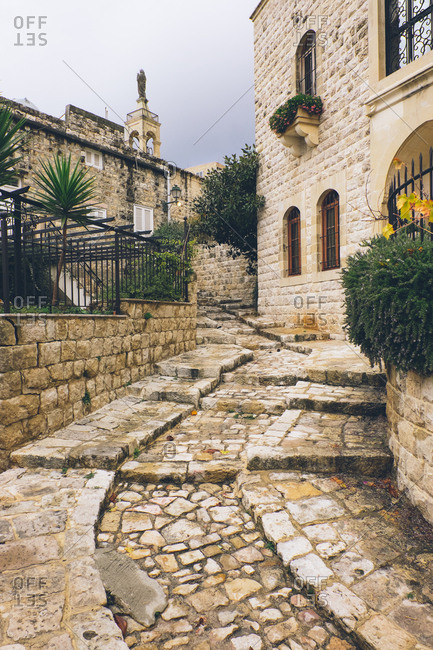 Old cobblestone steps in Deir el Qamar, Lebanon