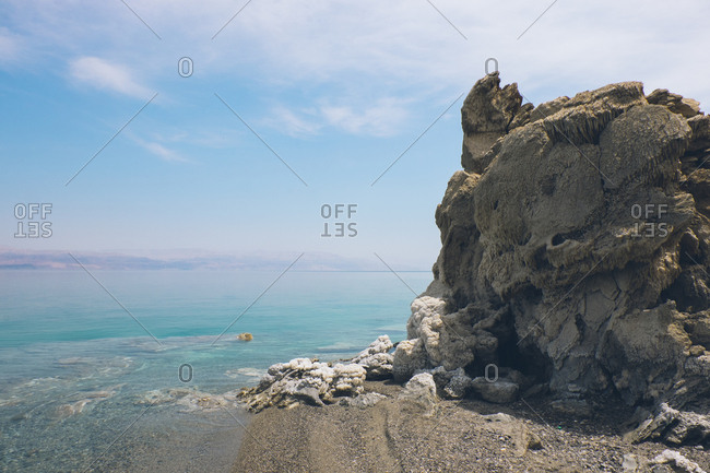 Rock formation on the shore of the Dead Sea, West Bank, Israel (Palestine)