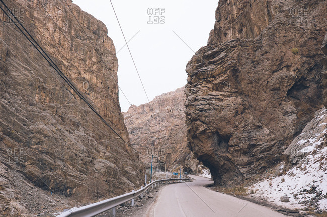 Winding mountainside road in Shamshak, Iran