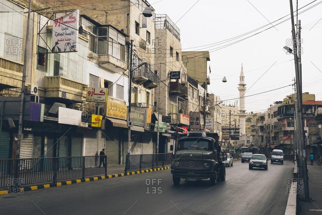 Amman, Jordan - May 1, 2017: Street scene in Amman, Jordan