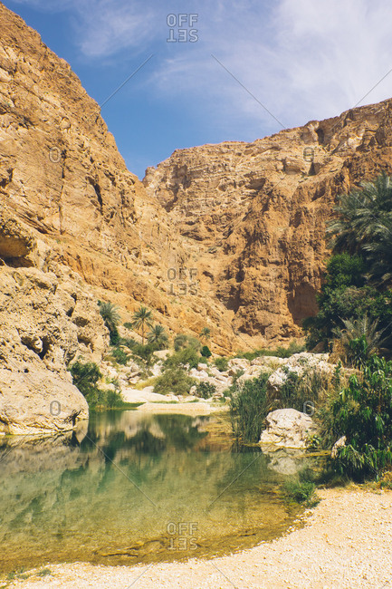 Natural pool in the canyons of Wadi Shab, Oman
