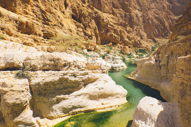 Green river running through canyons of Wadi Shab, Oman