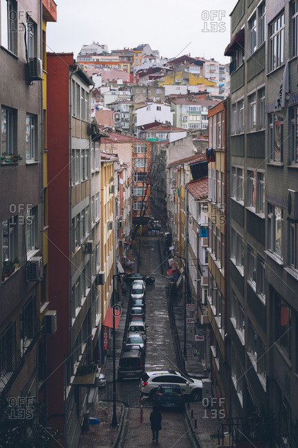 Istanbul, Turkey - February 5, 2017: Bird's eye view of a rainy street scene in Istanbul