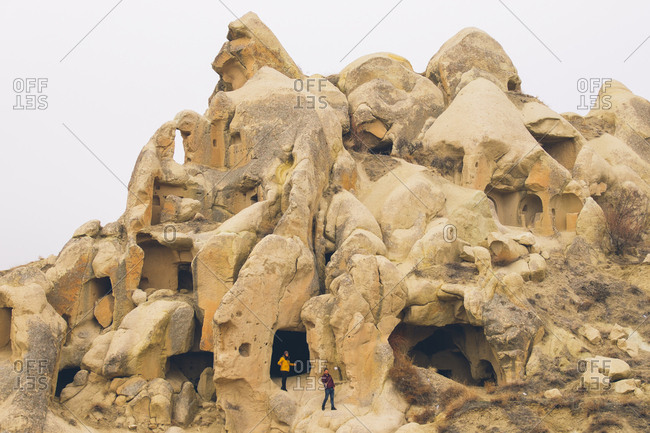 Cappadocia, Turkey - February 11, 2017: Houses carved in stone in Cappadocia, Turkey