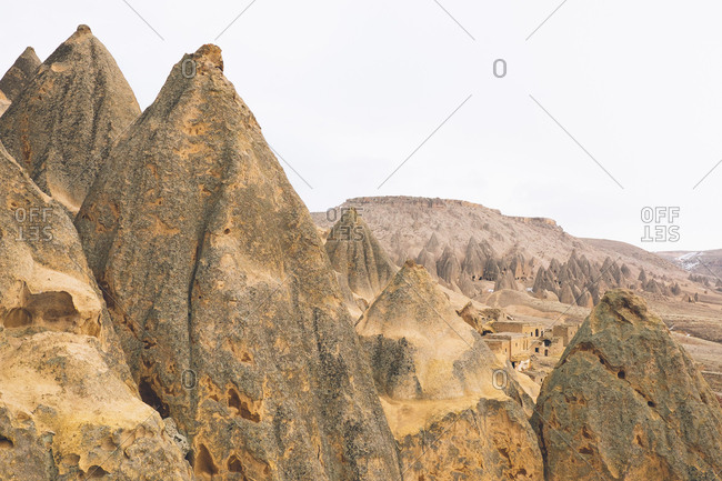 Cone-shaped hills and chimneys in Cappadocia, Turkey
