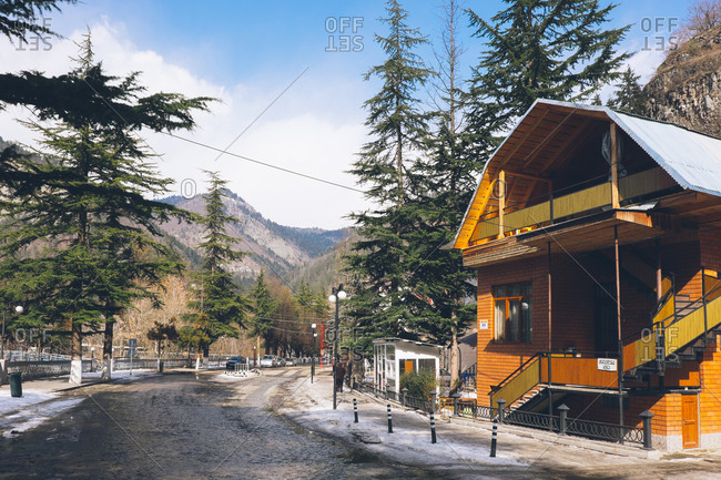 Borjomi, Georgia - February 22, 2017: View of the resort town Borjomi, Georgia