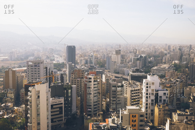 Beirut, Lebanon - November 11, 2016: View of the city on a hazy day