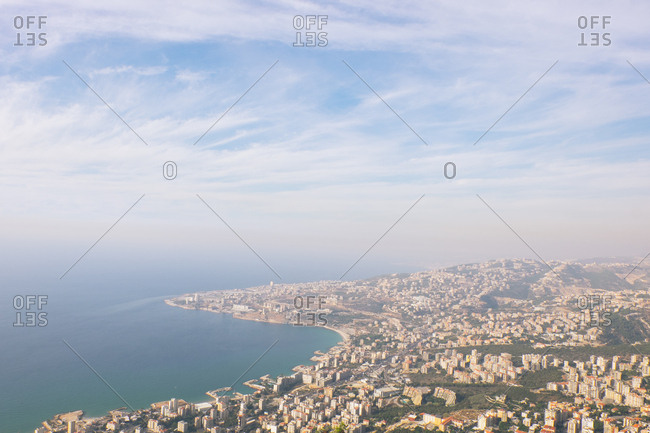 Aerial view of city along the Mediterranean coast in Lebanon