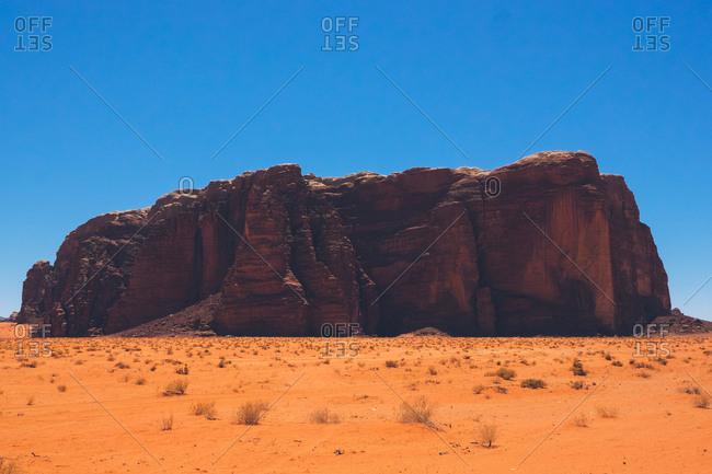 Large rock formation in the Wadi Rum desert, Jordan