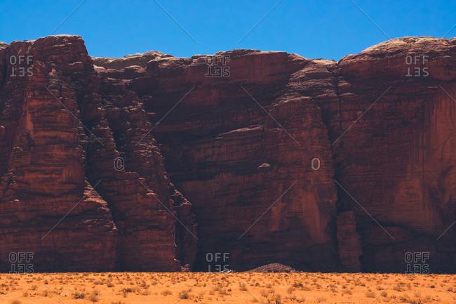 Detail of a rock formation in the Wadi Rum desert, Jordan