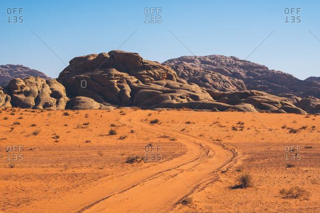 Tire tracks in the Wadi Rum desert, Jordan