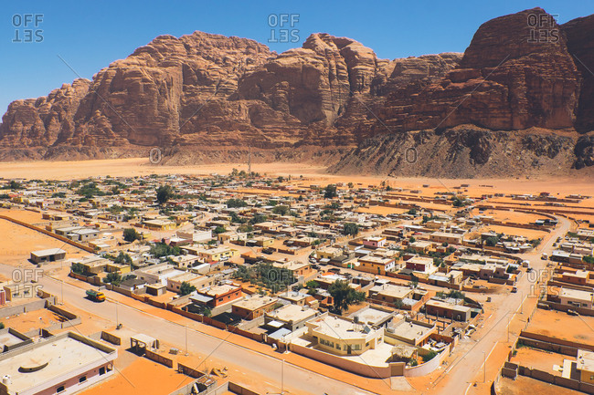 Aerial view of city in the Wadi Rum desert, Jordan