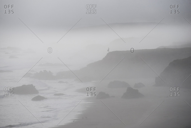 Scenic view of Pismo Beach against sky during foggy weather