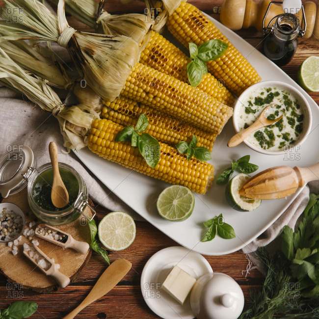 High angle view of roasted corn served in plate on table