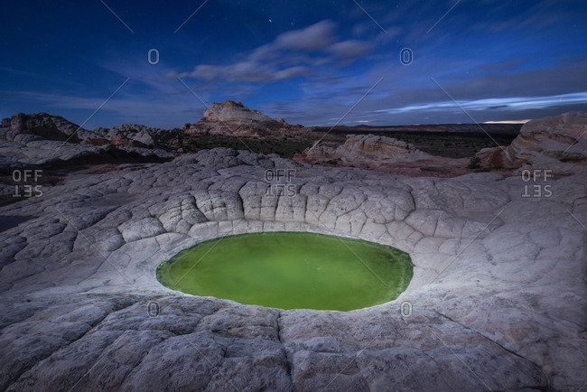 High angle scenic view of pond at Marble Canyon against sky