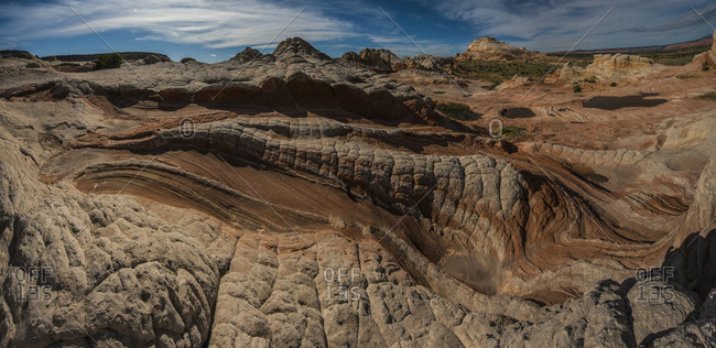 High angle view of rock formations at Marble Canyon