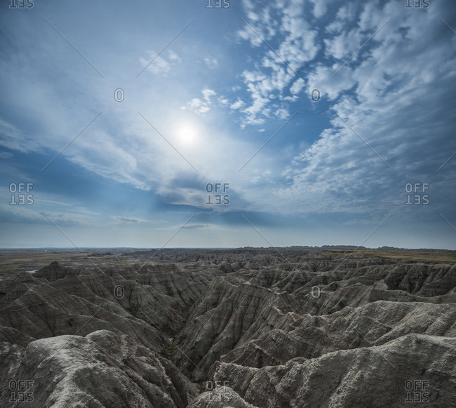 High angle idyllic view of rock formations at Badlands National Park against cloudy sky
