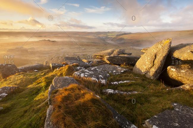 Moorland view from Littaford Tor, near Two Bridges, Dartmoor National Park, Devon, England, UK, October 2012