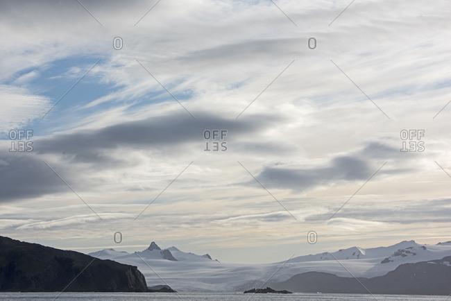 View across Ice Fjord to the Ryan Glacier, South Georgia. January 2015